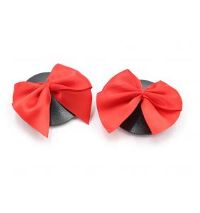 """Cache-tétons en simili-cuir noir et noeud satiné rouge """"Red bow on my boobs"""""""