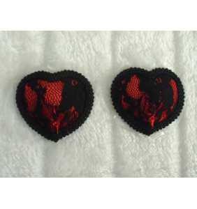 """Cache-tétons coeurs rouge dentelle noire """"Racy hearts"""""""