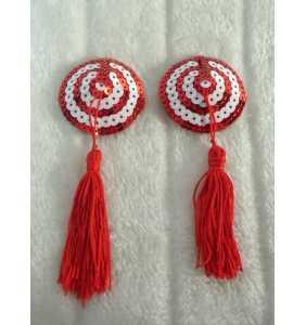 """Cache-tétons spirale rouge et blanche à pompon """"Twisty boobs"""""""