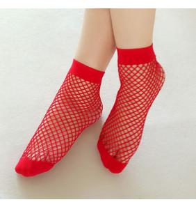 """Chaussettes basses rouges en résilles """"Red fishnet socks"""""""