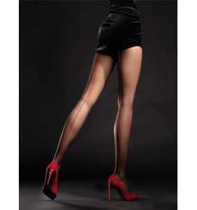 """Collants noirs couture rouge """"Unique"""""""