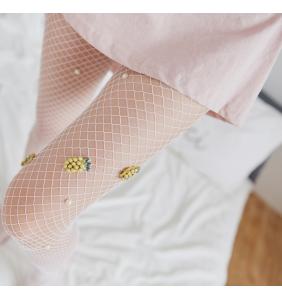"""Collants en résille blanche à perles et ananas """"Pineapple tights"""""""