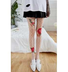 "Collants en large résille blanche à roses brodées ""Red roses tights"""