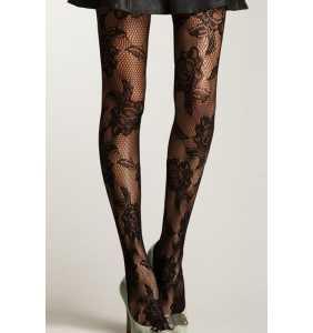 """Collants résilles noirs motifs roses """"Roses fishnet glamour"""""""