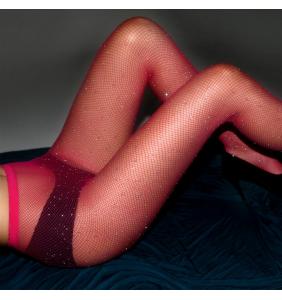 """Collants résilles rouges à strass """"Shiny burlesque"""""""