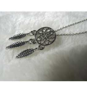 "Collier attrape-rêve argenté ""Dream my dreamcatcher"""