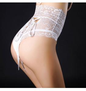 """Culotte taille haute en dentelle blanche lacée à l'arrière """"Sexy white panty"""""""