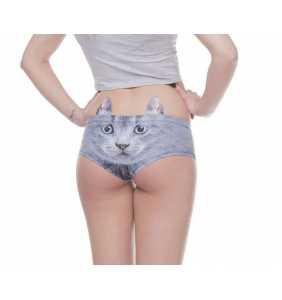 """Culotte tête de chat gris à oreilles """"Grey cute cat panty"""""""