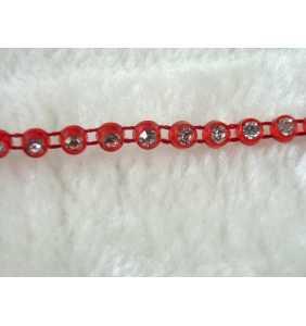 """Fil de strass transparents en plastique rouge (au mètre) """"Shiny red thread"""""""
