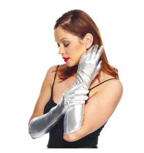 """Gants mi-longs 40cm lamés argentés """"Silver pin-up gloves"""""""