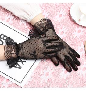 """Gants noirs courts en résille et dentelle """"Knotty gloves"""""""