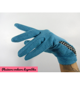 """Gants rétro en laine finition pied de poule """"Wooly winter gloves"""""""