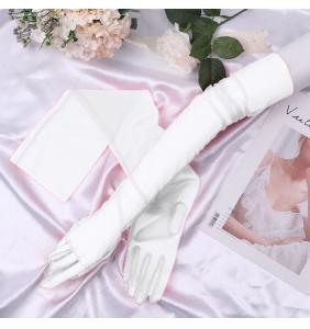 "Gants blancs extra longs en tulle transparente ""Sexy long transparent gloves"""