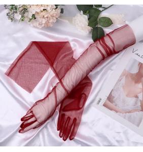 """Gants bordeaux extra longs en tulle transparente """"Sexy long transparent gloves"""""""