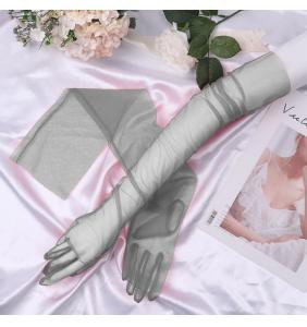 "Gants gris extra longs en tulle transparente ""Sexy long transparent gloves"""