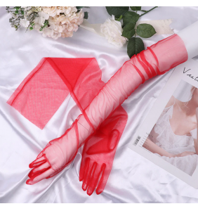 "Gants rouges extra longs en tulle transparente ""Sexy long transparent gloves"""