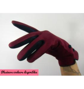 """Gants bicolores en suédine compatibles smartphone """"Soft retro gloves"""""""