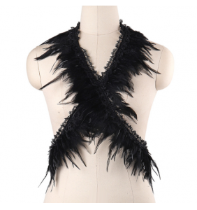 """Harnais burlesque noir à plumes """"Burlesque feathers"""""""