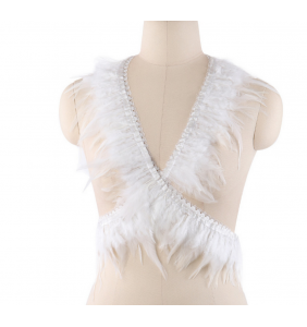 """Harnais burlesque blanc à plumes """"Burlesque feathers"""""""