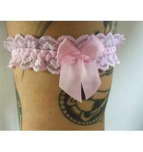 "Jarretière élastique en dentelle rose motif coeurs ""Pink hearts garter"""