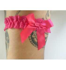 "Jarretière élastique en dentelle rose fuchsia ""Hot pink garter"""