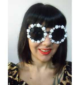 """Lunettes de soleil rondes originales à fleurs et strass """"Rounded sunglasses"""""""
