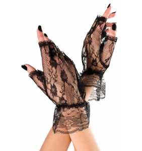 """Mitaines noires en dentelle """"Black pin-up fingerless gloves"""""""