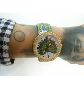 """Montre élastique paon à strass """"Peacock watch"""""""