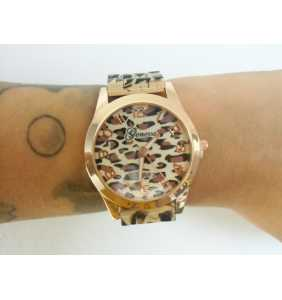"Montre en plastique léopard beige et marron ""Beige leopard watch"""