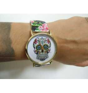 """Montre fantaisie originale tête de mort mexicaine sur bracelet élastique noir """"Mexican skull addiction"""""""