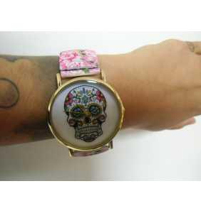"""Montre fantaisie originale tête de mort mexicaine sur bracelet élastique rose """"Mexican skull addiction"""""""