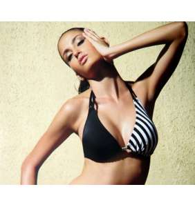 "Haut de maillot de bain noir ""Black, stripes and dots !"""