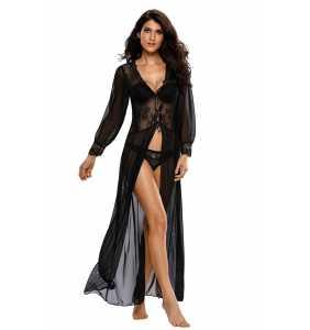 """Nuisette rétro longue noire transparente à manches longues """"Black pinup night gown"""""""
