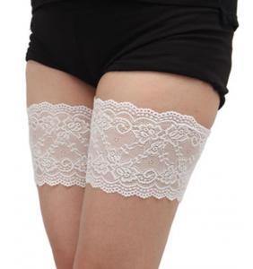 """Paire de jarretières blanches autofixante anti frottement des cuisses """"Perfect thighs"""""""