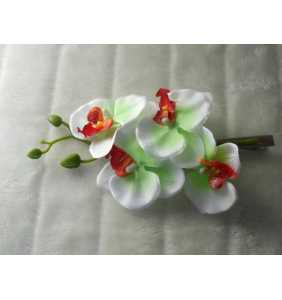 """Pince clip à cheveux branche d'orchidées blanches et vertes """"White and green orchid"""""""