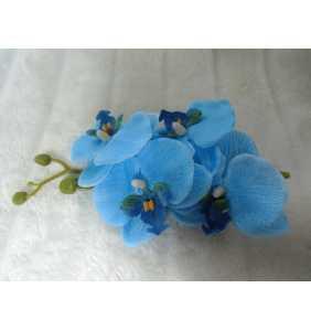 """Pince clip à cheveux branche d'orchidées bleues """"Blue orchid"""""""