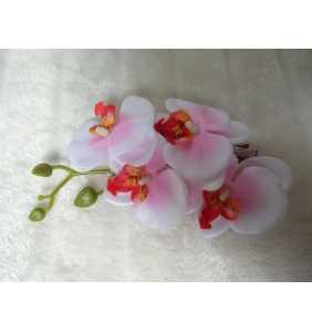 "Pince clip à cheveux branche d'orchidées blanches et roses ""White and pink orchid"""