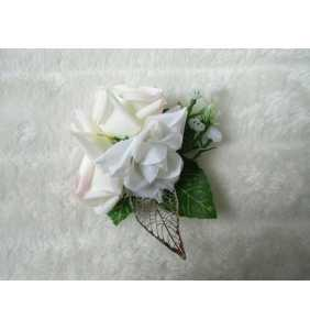 """Pince clip à cheveux et broche roses blanches """"Pin-up roses"""""""