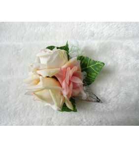 """Pince clip à cheveux et broche roses crèmes """"Pin-up roses"""""""