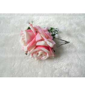 """Pince clip à cheveux et broche roses roses """"Pin-up roses"""""""