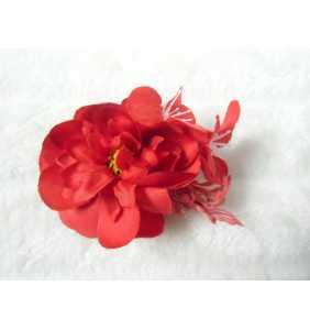 """Pince clip à cheveux et broche fleurs rouges """"Cute flowers"""""""