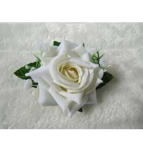"""Pince clip à cheveux et broche rose blanche """"Retro rose"""""""