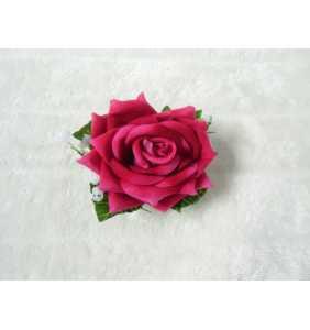 "Pince clip à cheveux et broche rose fuchsia ""Retro rose"""