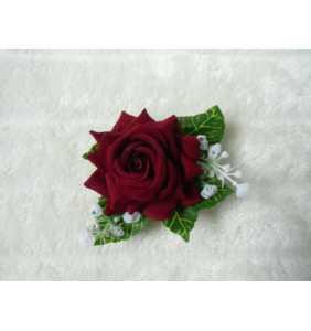 """Pince clip à cheveux et broche rose rouge """"Retro rose"""""""