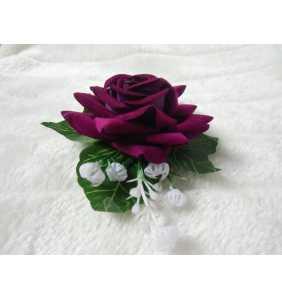 """Pince clip à cheveux et broche rose violet pourpre """"Retro rose"""""""