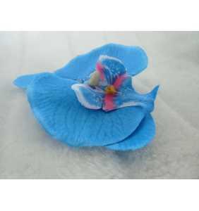 """Pince clip à cheveux orchidée bleue """"Blue pinup orchid"""""""