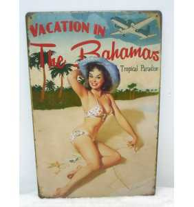 "Plaque murale en métal pin-up ""Vacation in the Bahamas"""