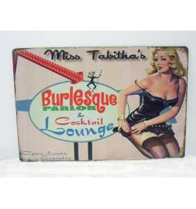 """Plaque murale en métal pin-up """"Miss Tabitha's burlesque parlor"""""""