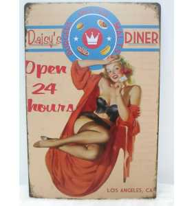 "Plaque murale en métal pin-up ""Daisy's diner"""