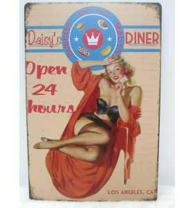 "Plaque murale en métal pin-up ""Daisy's diner"""